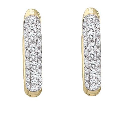 Dazzlingrock Collection 0.17 Carat (ctw) 10K Diamond Micro Pave Hoop Earrings, Yellow Gold ()