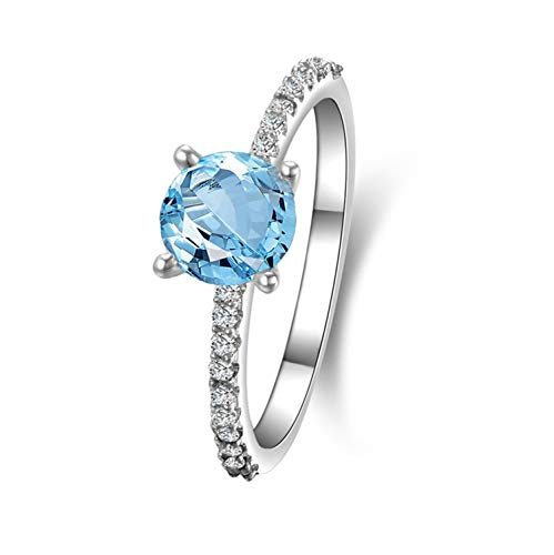 Gnzoe Jewelry-925 Sterling Silver Women White Engagement Rings Blue Created-Topaz December Birthstone Size - Ct Blue 4 Topaz White 14k Ring Gold