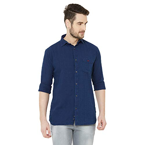 Men Dark Blue Solid Denim Casual Shirt