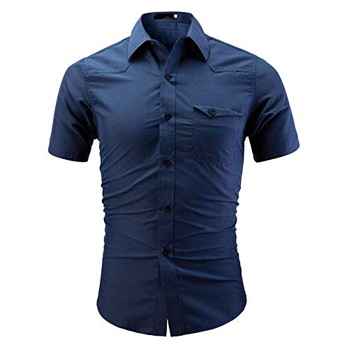 Stoota Fashion Men's Summer Solid Color Button-Down Business Casual Short Sleeve Slim Fit Shirt Top Blouse Blue