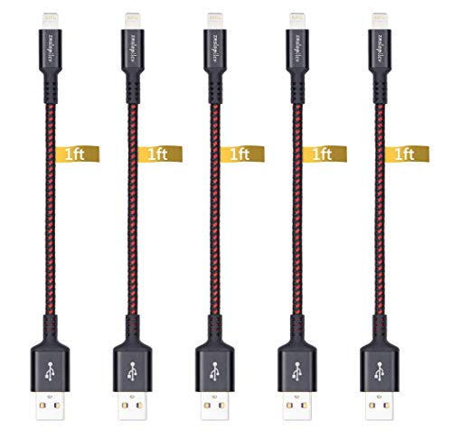 Lightning Charger Cable 1ft 5 Pack,Short Nylon Braided USB Fast Charging&Syncing Cable Cord Compatible Phone XS Max/XS/XR/X/8/8Plus/7/7Plus//6S Plus/SE (Black)