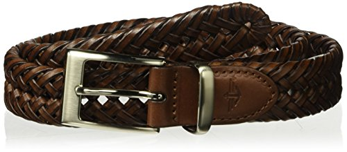 Dockers Men's  1 1/4 in. Laced Braid Metal Logo (Braid Leather Belt)