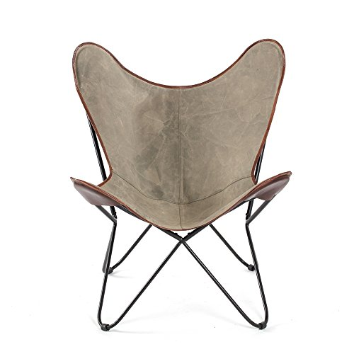 - MattsGlobal Modern & Contemporary MH CH-701 Brevent Iron Butterfly Chair W/Canvas Grey Seat and Leather Trim Retro Butterfly Design Grey
