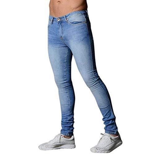 Pesos Pesados  Pantalones De Mezclilla Los Hombres Skinny De Ocasionales De Los Pantalones Largos Y Rectos Pantalones De Mezclilla De Moda De Cierre Vaqueros Ajustados Slim Fit Jeans Largo Al Air Hellblau