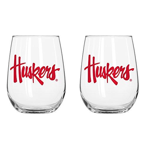 NCAA Nebraska Cornhuskers Curved Beverage Glass, 16-ounce, 2-Pack