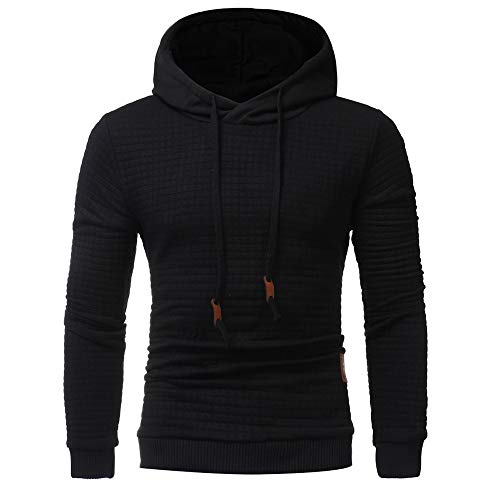 Men's Fashion Solid Long Sleeve Casual Hoodie Sweatshirt Drawsting Jacket Coat Outwear -