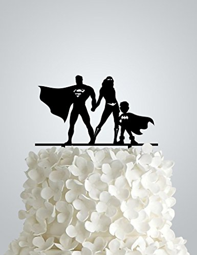 Acrylic Wedding cake Topper inspired by Superman and Wonder woman + bat boy by Frog Studio Home