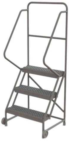 Tri-Arc KDTF103242 3-Step Tilt and Roll Industrial & Warehouse Steel Ladder with Grip Strut Tread, 24-Inch Wide Steps