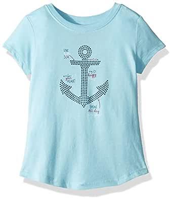 Nautica Girls' Toddler Short Sleeve Graphic Tee, Aqua Anchor, 2T