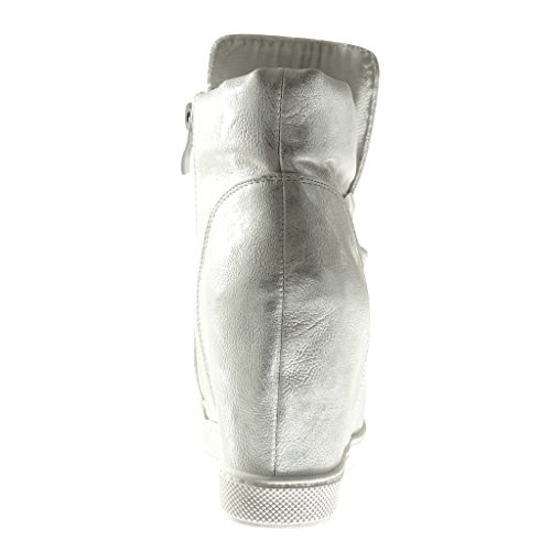 Angkorly - Scarpe da Moda Sneaker Zeppa donna papillon lucide Tacco zeppa 9 CM - Argento