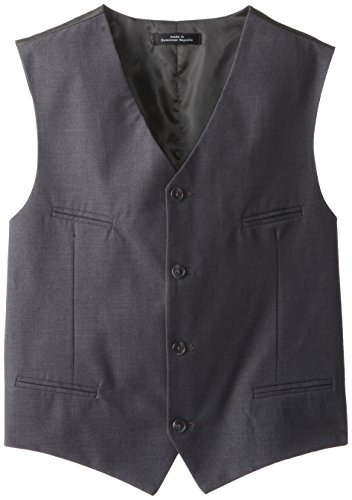 Calvin Klein Big Boys' Fine Line Twill Vest, Dark Charcoal Heather, (Boys Gray Vest)