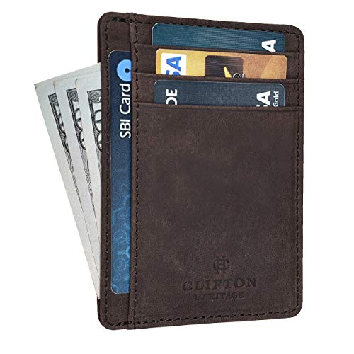 RFID Front Pocket Slim Wallets for Men - Genuine Leather Minimalist Credit Card Holder By Clifton Heritage