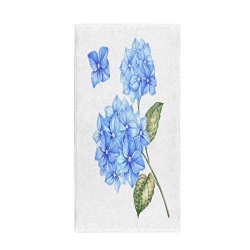 (Semtomn 14 x 30 Inches Bath Towel Blossom Hydrangea Flowers Awesome Blue Floral Heads for Marriage Soft Absorbent Travel Guest Decor Hand Towels Washcloth for Bathroom(One Side Printing))