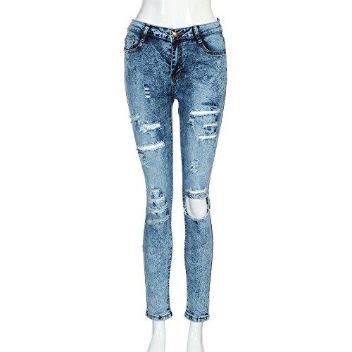 Pantalons Mid Casual Slim Long Jeans Mme Jeans En Taille Bleu Lasticit Skinny Jeans Pantalon Slim OHQ Denim Trou Denim Femmes qvUCS