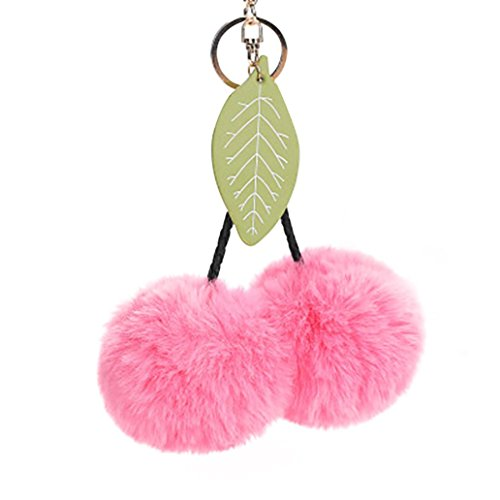 Key Chains,Mr.Macy Hot Sale Cute Cherry Leaves Keychain Pendant Women Key Ring Holder Pompoms Key Chains - Free Macys
