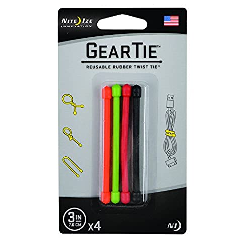 Nite Ize Original Gear Tie, Reusable Rubber Twist Tie, Made in the USA, 3-Inch, Assorted Colors, 4