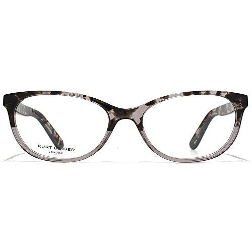 Kurt Geiger Amelia Soft ovale acétate lunettes en écaille gris cristal gris dégradé KGS012-TOR clear