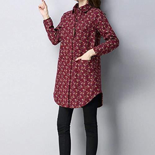 Ropa Larga Manga Botones Mujer Blusa Camisas Lino Las Grueso Tops Abajo Con Algodón Ysfu Mujeres Camisa De Caliente 1qazznwH