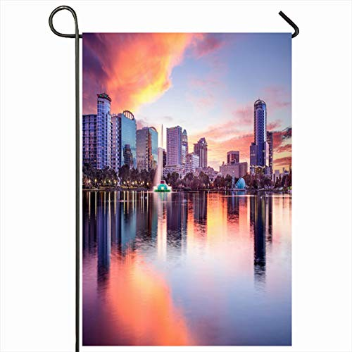 Ahawoso Seasonal Garden Flag 12x18 Inches EOLA Orlando Florida USA Downtown City Skyline Twilight Parks Lake Sunset Cityscape Water Scenery Home Decorative Outdoor Double Sided House Yard Sign
