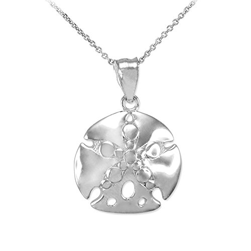 Polished 14k White Gold Sea Star Sand Dollar Charm Pendant Necklace, 22
