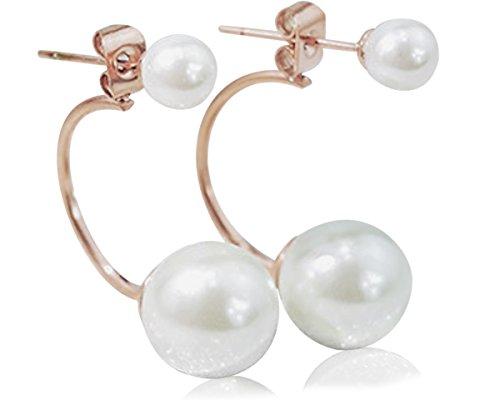 Pearl Metal Gold Plated Earrings (18K Rose Gold Plated Stainless Steel Earrings (2 Pearls))