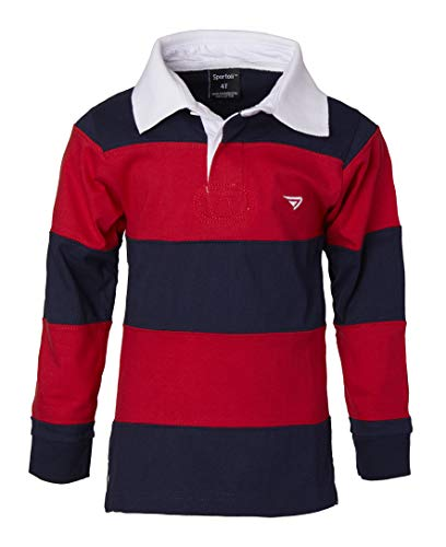 Sportoli Big Boys 100% Cotton Wide Striped Long Sleeve Polo Rugby Shirt - Red (Size 14)