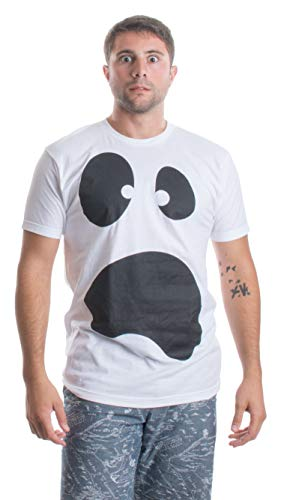 Silly Ghost Face | Spooky Halloween Ghoul Face Easy Costume Unisex T-Shirt-Adult,2XL White]()