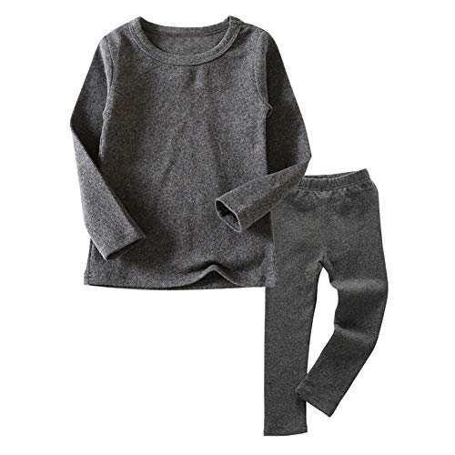 Little Kids Long Johns Thermal Underwear Set 2PC Crewneck Tops and Bottom Toddler Boys Girls Pajamas Warm Jammies,(Gray,3T)
