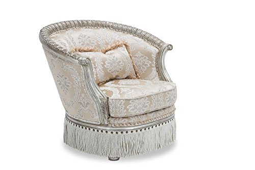 Aico Amini Giselle Wood Trim Accent Chair With Rounded Back