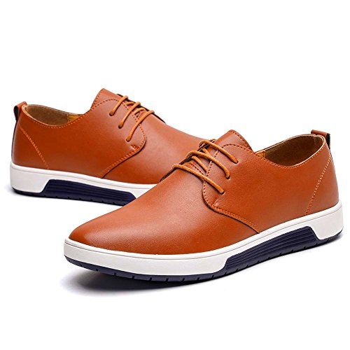 KONHILL Men's Casual Oxford Shoes Breathable Flat Fashion Lace-up Dress Shoes, Brown, 45 by KONHILL (Image #3)