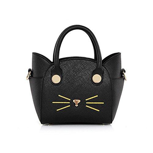 AUSERO Bloso a mano Gato de PU Moda para Mujeres y niñas Tote Bolso de Hombro Señorita Casual rosa Negro