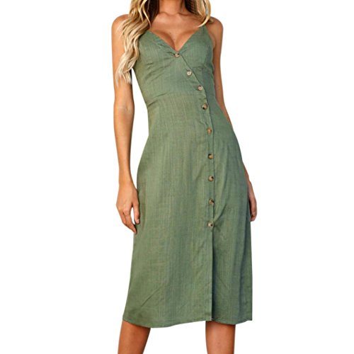Womens Solid Spaghetti V Neck Botton Wrap Split Dress Slim Fit Maxi Knee Dresses (M, - Button Wraps Bamboo