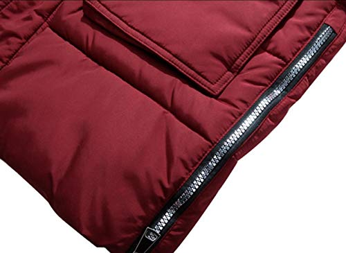 Hooded Faux Jacket Warm Overcoat Red Down Fur Men's Winter Wine security Coat wq58XaCWx