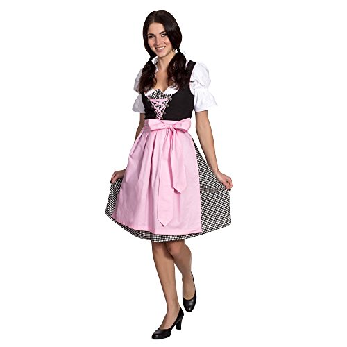[Gaudi-leathers Women's Set-3 Dirndl Pieces Checkered 46 Black/White] (German Dress)