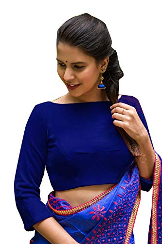 Women's Party Wear Readymade Bollywood Designer Indian Style Padded Blouse for Saree Crop Top Choli - Blue Sari Silk