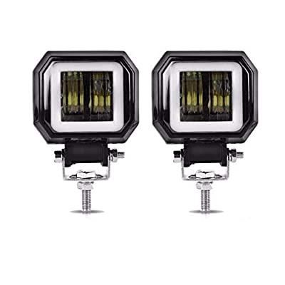 2PCS 3 inch 6000K 40W White Fog Light 10-80V DC Waterproof Square LED Angel Eye Light Strip Off-Road Vehicle Boat Led Work Light Motorcycle Light Warranty 3 Years: Automotive
