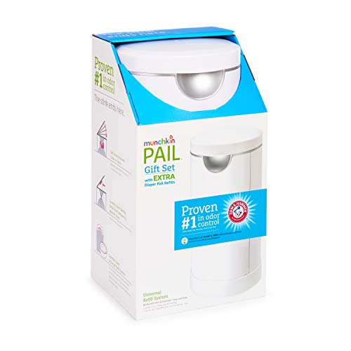 Munchkin Diaper Pail Starter Set, Powered by Arm & Hammer, 1 Month Refill Supply
