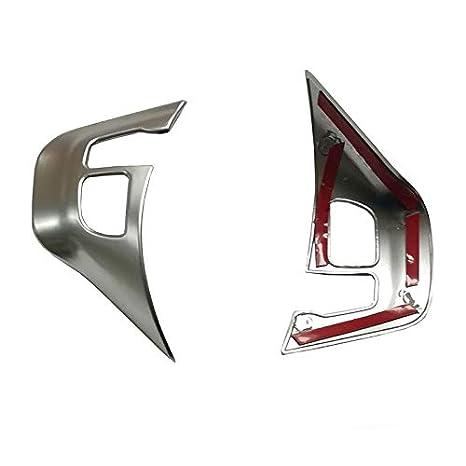1 paire dargent mat 1 Paire Volant de Voiture Autocollant de Colle Logo Emblem Trim Cadre Accessoires de Auto Pour 208 2008,Chrome Argent