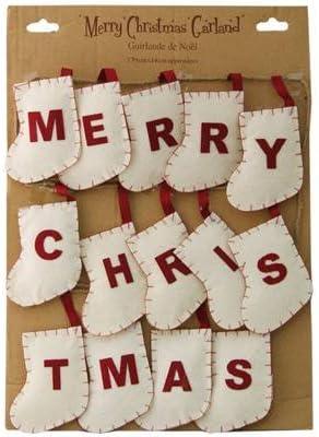 Buon Natale Shabby Chic.Stile Shabby Chic Decorazione Ghirlanda Di Natale White Calza Di Buon Natale Amazon It Casa E Cucina