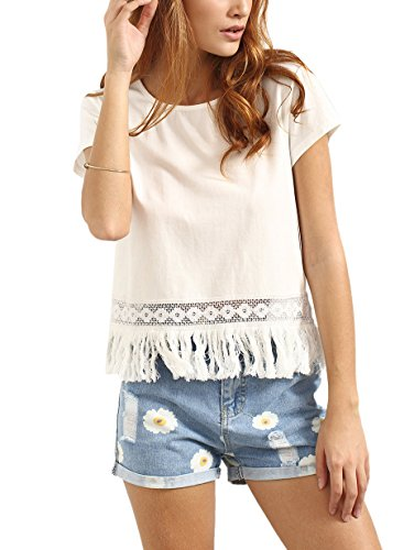 ROMWE Women's Round Neck Short Sleeve T-Shirt Tee Blouse Casual Tops White S
