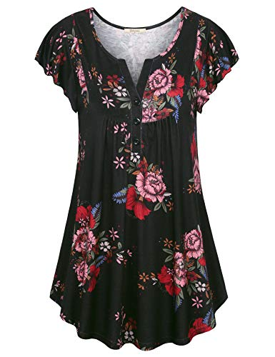 Bebonnie Women's Vintage Short Sleeve V Neck Pleated Tunic Shirt Black Red XL ()