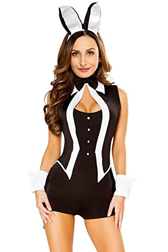 Party City Bunny Costume (Women Adult Party Fancy Halloween Costume Tuxedo Bunny Fancy Party Costume Sexy Sleeveless Bodysuit Rompers)
