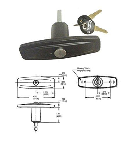 TriMark Clockwise Pop-Up Locking T-Handle (TM13946-01BLKRK) ()