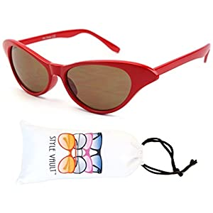 Wm527-vp Style Vault Small Cateye Sunglasses (L2330E Red-Brown, clear)