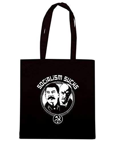 Speed Shirt Borsa Shopper Nera TM0688 SOCIALISM SUCKS