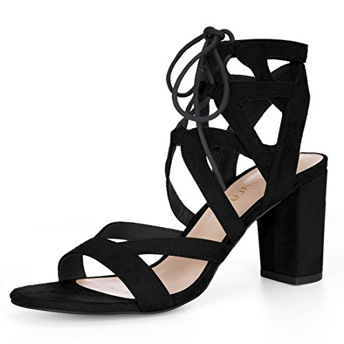 - Allegra K Women's Cutout Strappy Chunky Heel Lace-up Sandals (Size US 7) Black