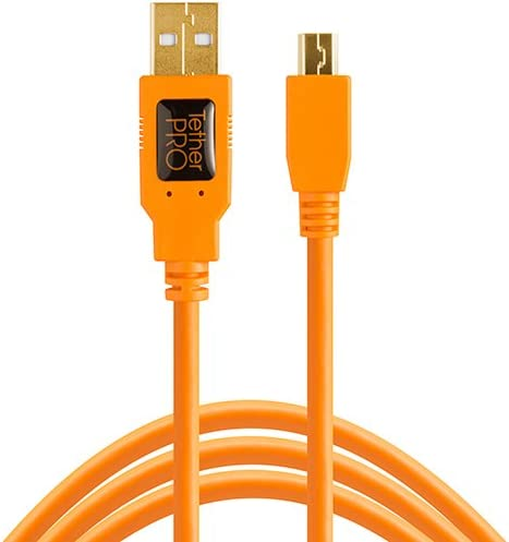 Tether Tools TetherPro USB 2.0 to Mini-B 5-Pin Cable, 15' (4.6m), High-Visibility Orange