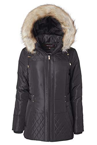 Women Midlength Down Alternative Quilt Winter Puffer Coat Zip Off Fur Trim Hood - Black (2X) (Short Black Puffer Coat With Fur Hood)