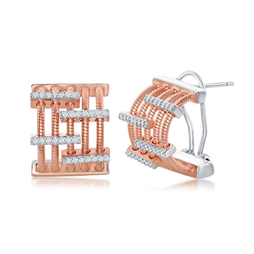 Sterling Silver Italian Bonded with 14K Rose Gold Plated with Simulated Diamonds CZ Bars Half Hoop -