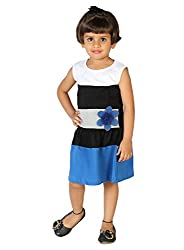 Lil Orchids Big Girls' Cut-Sew Dress With Applique Flower 7-8 Years Blue